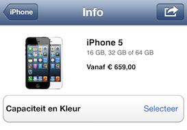 iPhone 5 prijs Apple Store app