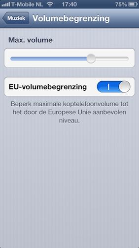 Volumebegrenzing instelling