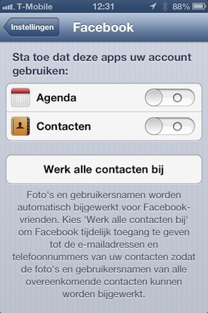 facebook contacten ios 6 bijwerken