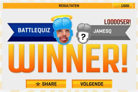 BattleQuiz iPhone iPod touch winnaar