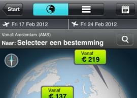 Skyscanner iPhone-app vlucht vergelijken