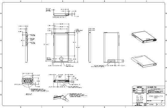 iPod nano schematische tekening