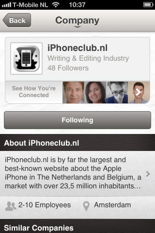 LinkedIn company-pagina iPhoneclub.nl