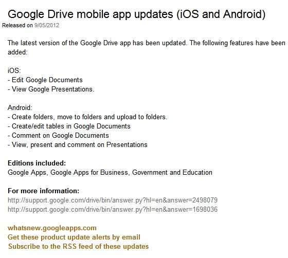 google drive update ios android