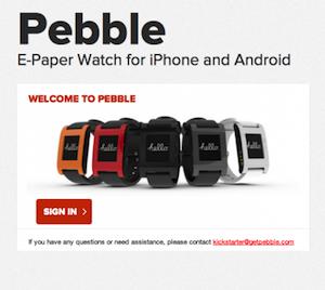 Pebble account site