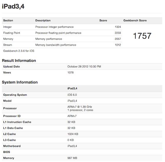 Geekbench iPad 4