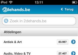 2dehands.be iPhone-app header