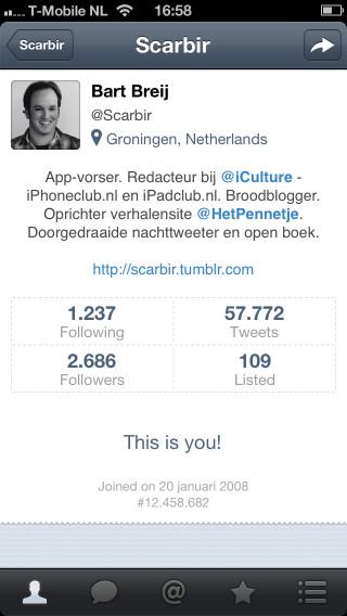 Flurry for Twitter profielpagina Scarbir