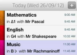 Skedule huiswerk-app header iPhone