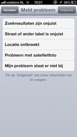 probleem melden apple maps 2