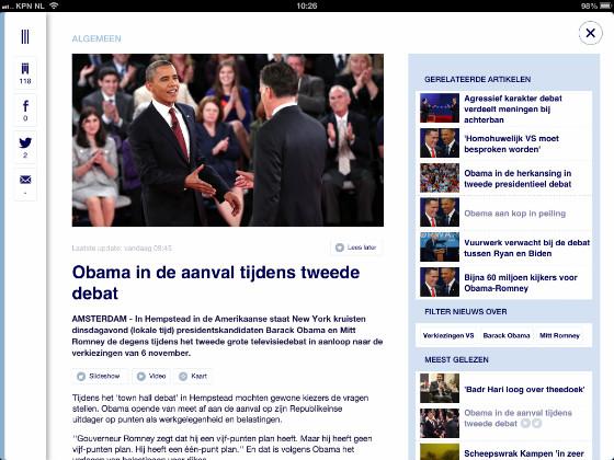 NU.nl iPad-app artikelpagina