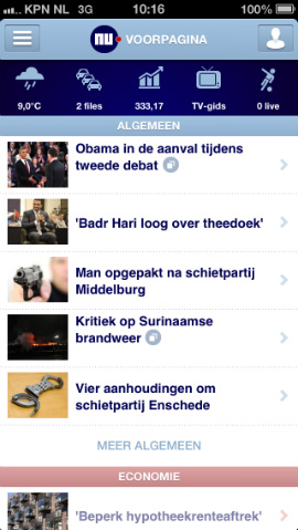 NU.nl iPhone-app voorpagina