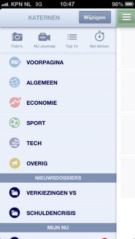 NU.nl iPhone-app hoofdmenu links
