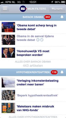 NU.nl iPhone-app Mijn NU met filters