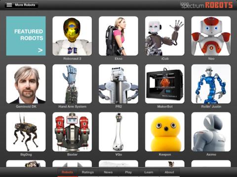 Robots for iPad hoofdmenu