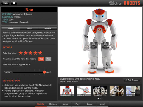 Robots for iPad infopagina