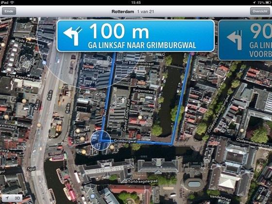 apple maps ipad mini navigatie