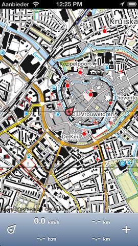 Topo GPS kaart ingezoomd