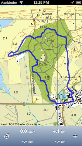 Topo GPS opgenomen route