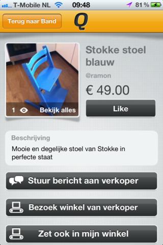 Qonfy te koop blauwe stoel