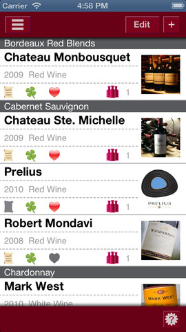 Wine Journal wijnen op rij