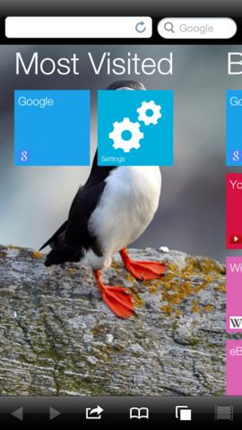 Puffin Web Browser menu