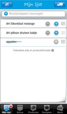 Appie boodschappenlijst sorteren 270