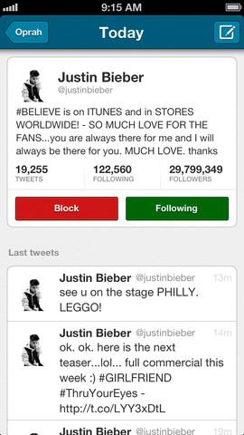 Sayonara ontvolgers Bieber