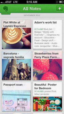 Evernote 5 iPhone notitieoverzicht