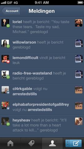 Tumblr overzicht meldingen