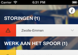 NSStoringen iPhone iPod touch trein