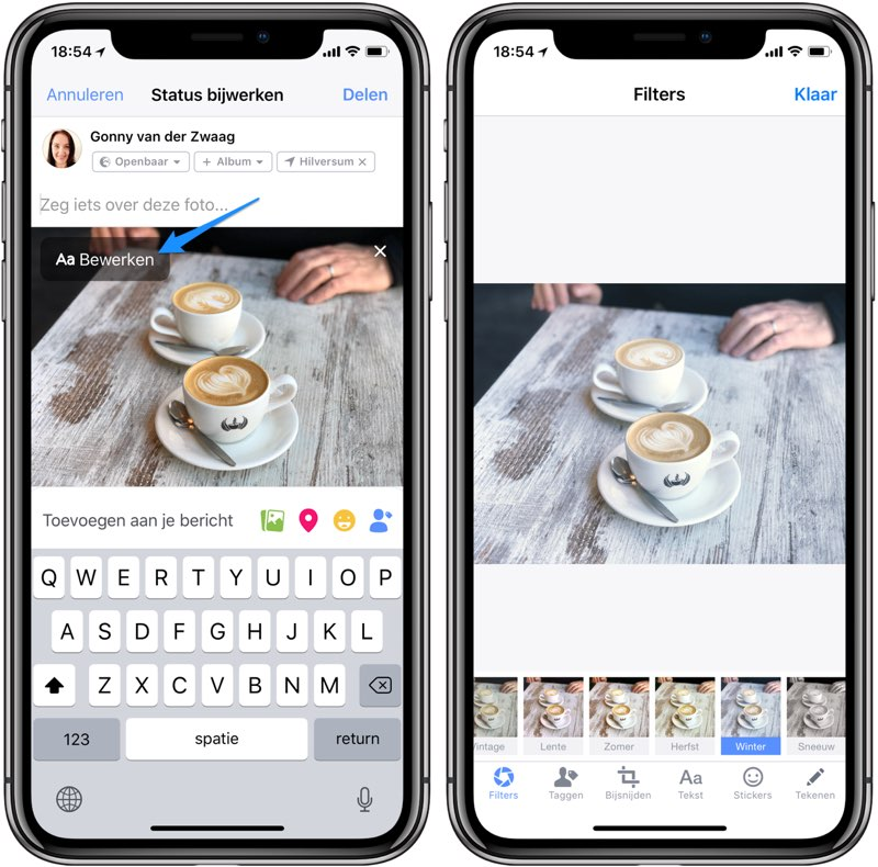 Facebook filters voor iPhone