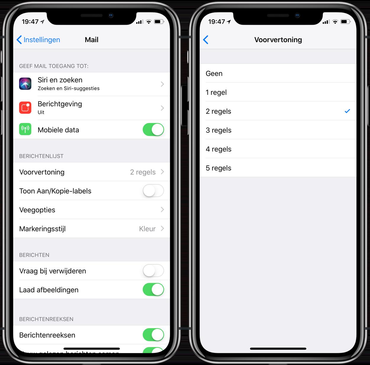 Mail preview op de iPhone