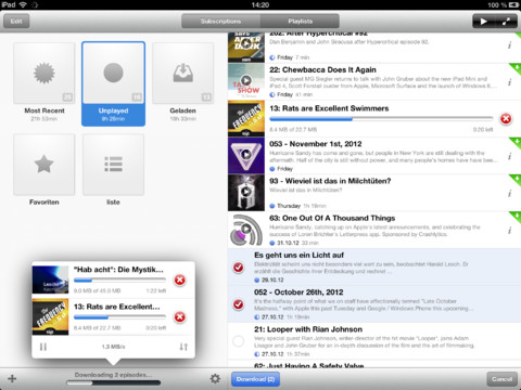 Instacast podcast-app iPad