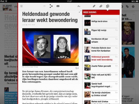 Telegraaf HD artikelpagina liggend