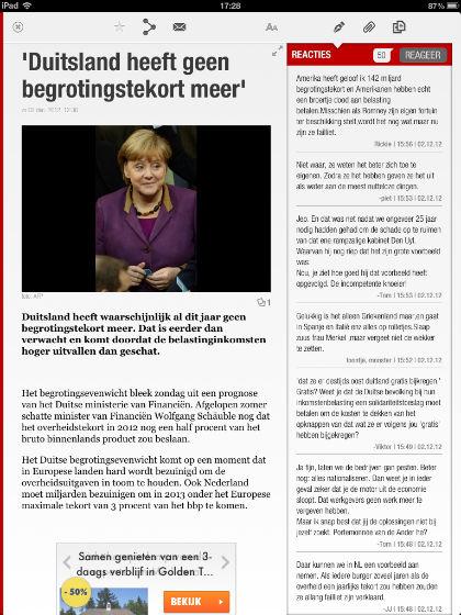 Telegraaf nieuwsbericht staand