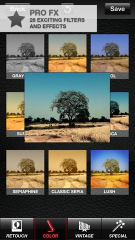 ProCamera effecten kiezen