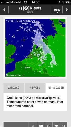 RTL Nieuws Mobile Buienradar op iPhone