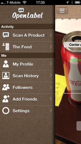 OpenLabel scannen en menu
