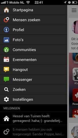 Google+ nieuwe hoofdmenu