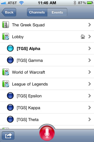 TeamSpeak 3 kanalen kiezen iPhone