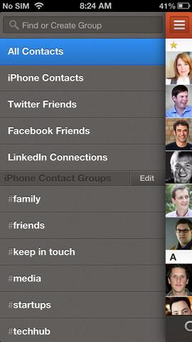 Cobook menu met opties