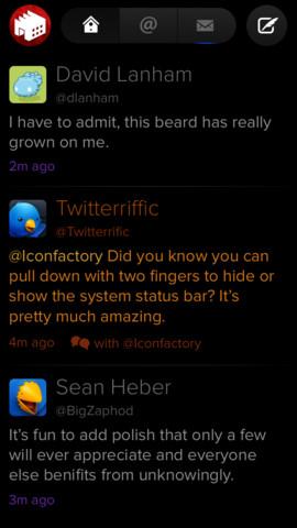 Twitterrific timeline in zwart