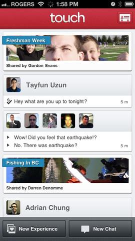 Touch overzicht chats en evenementen