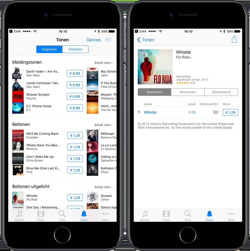 Beltonen kopen in iTunes-app