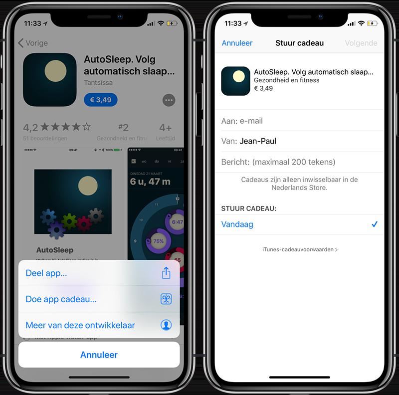 App cadeau geven op iPhone en iPad