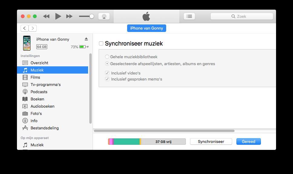 iPhone geen muziek synchroniseren