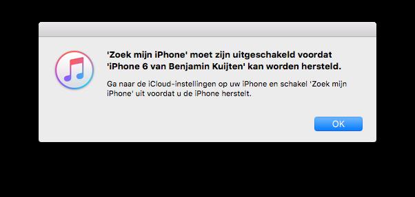 iPhone herstellen niet mogelijk door Zoek mijn iPhone.