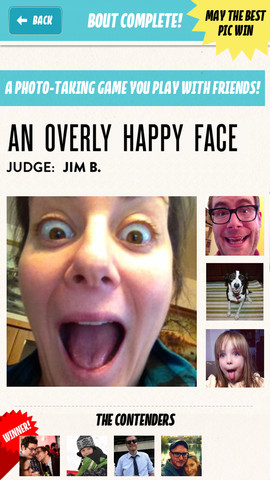 Bout fotowedstrijd blij gezicht