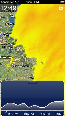 Regenmelding grafiek onderin beeld